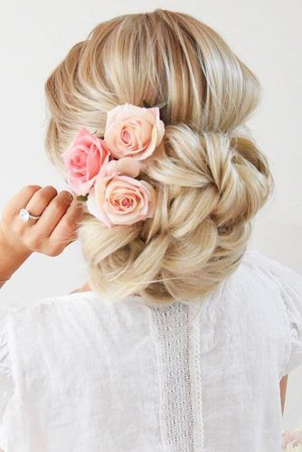 Braided Bun With Roses #updo #braids
