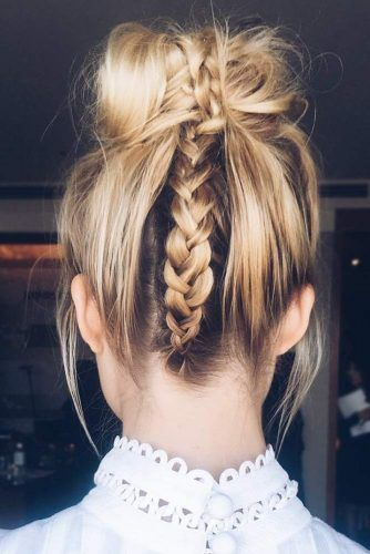 Dutch Braid Into Messy Bun #updo #bun #braids