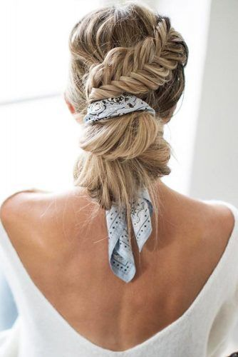 Fishtail Braid Into Bun #updo #buns #braids