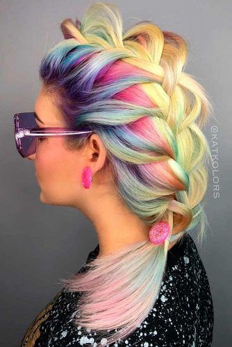 Big Colored Braid #updo #ponytails #braids