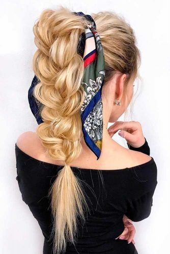 High Braided Ponytail With Head Scarf #updo #braids #ponytails