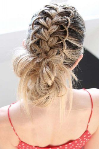 Loop Braid And Messy Bun #updo #braids #bun