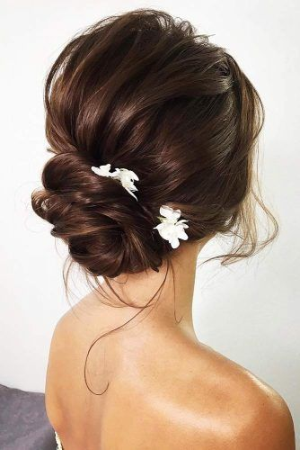 Low Simple Bun With Flowers #updo #bun