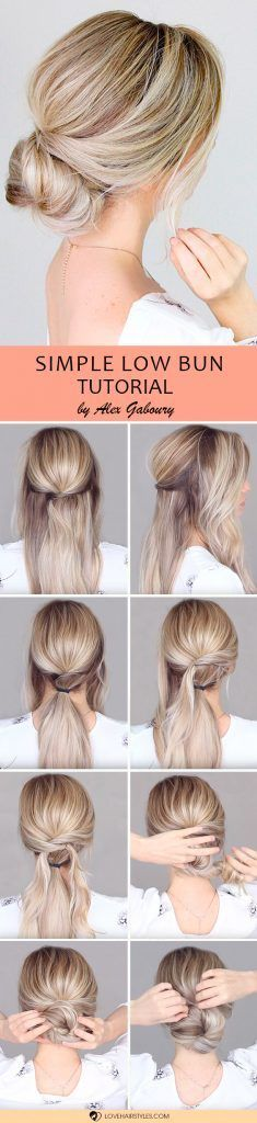 Simple Low Bun #updo #bun #hairtutorials