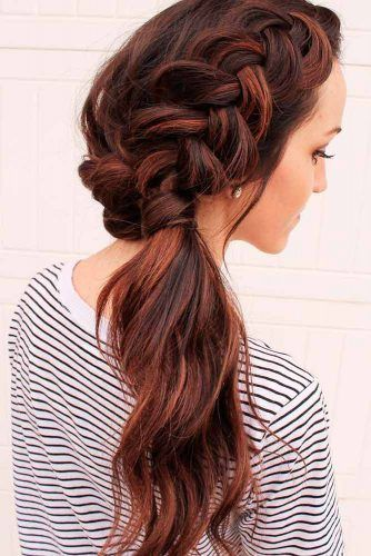 Side Braided Ponytail #braids #updo #ponytails