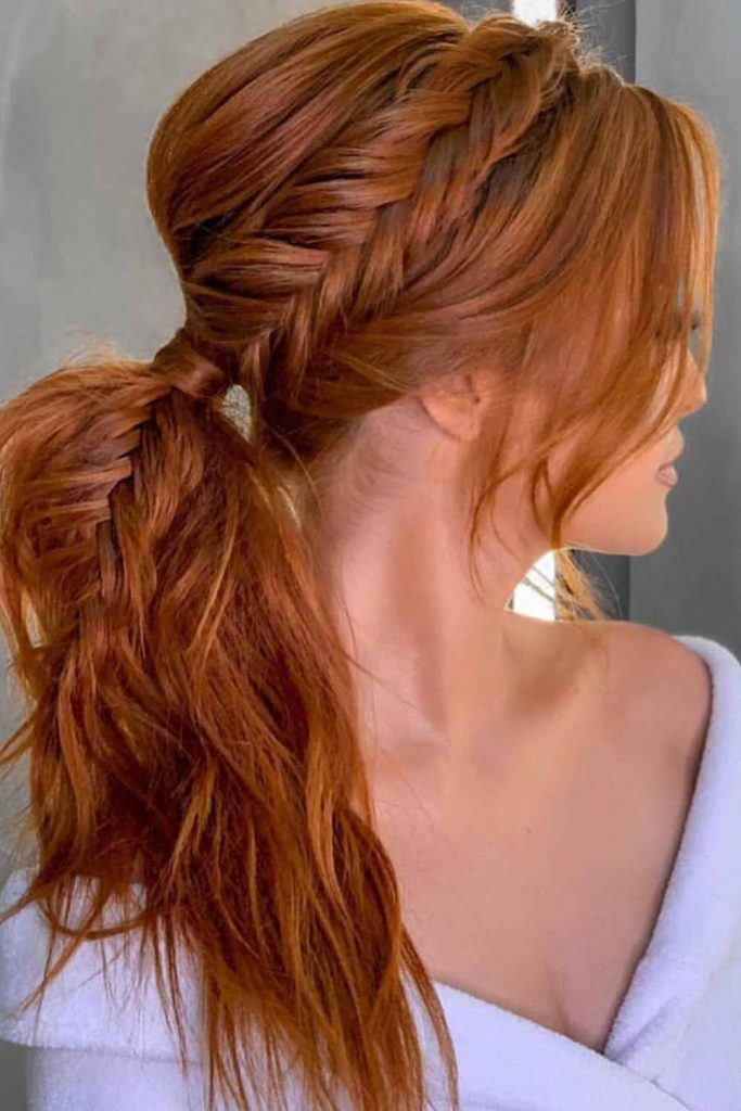 Fishtail Braid Into Ponytail #copperhair #ponytails