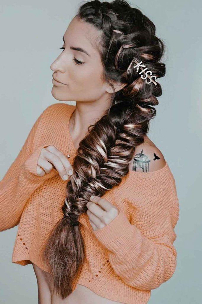 Voluminous Fishtail Braid On Side #longhair #longhairstyles