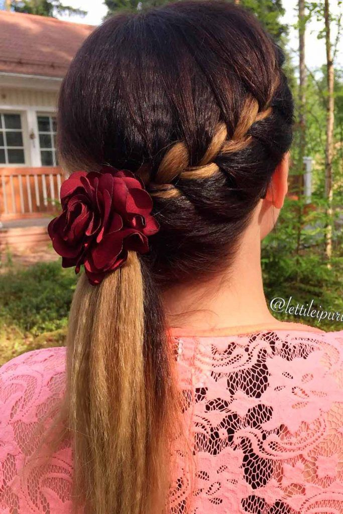 Big Voluminous Side Braid Into Ponytail