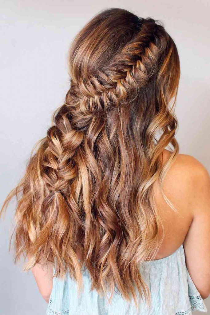 Braided Half-Up Half-Down Hairstyle #easyhairstyles #casualhairstyles