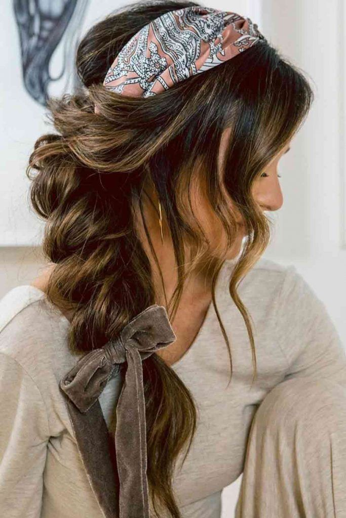 Messy Braid With Scarf #headscarf #messyhairstyles
