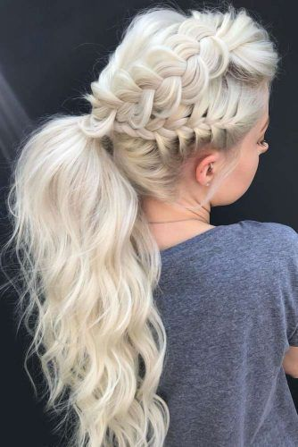 Messy Ponytails With Braids In Dutch Style Blonde #ponytails #updo