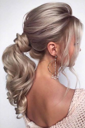 Ponytails With Bangs Wavy #ponytails #updo