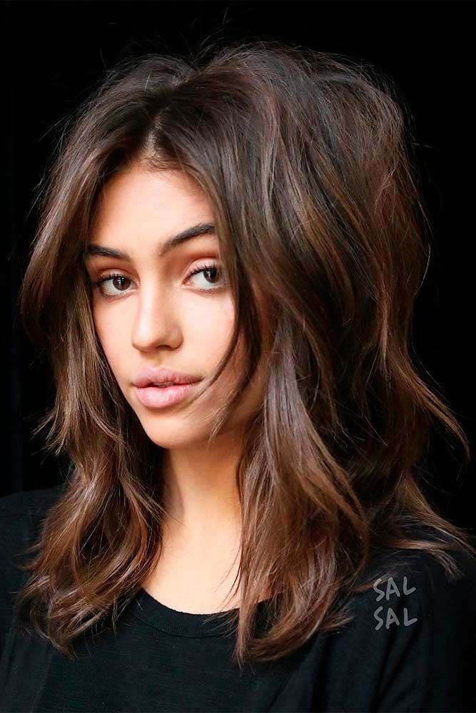 Brown Middle Parted Layered Haircuts #shoulderlengthlayeredhair #shoulderlengthhairstyle #layeredhair