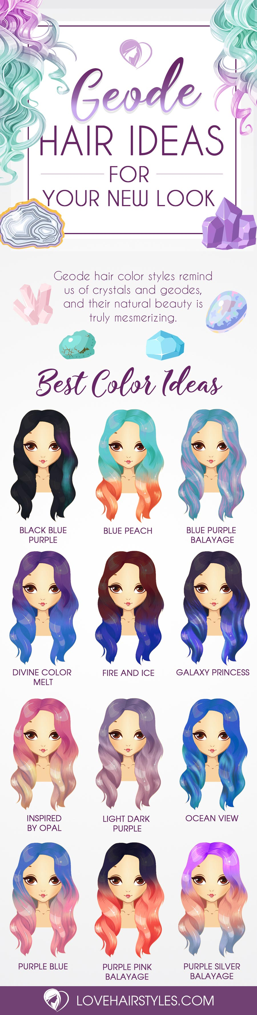 Try 18 Geode Hair Color Styles - New Trend in the World of Dyeing