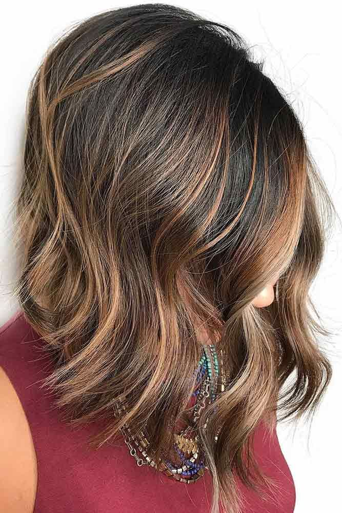 Cool And Trendy Autumn Colors Bob #brownhairwithhighlights #highlights