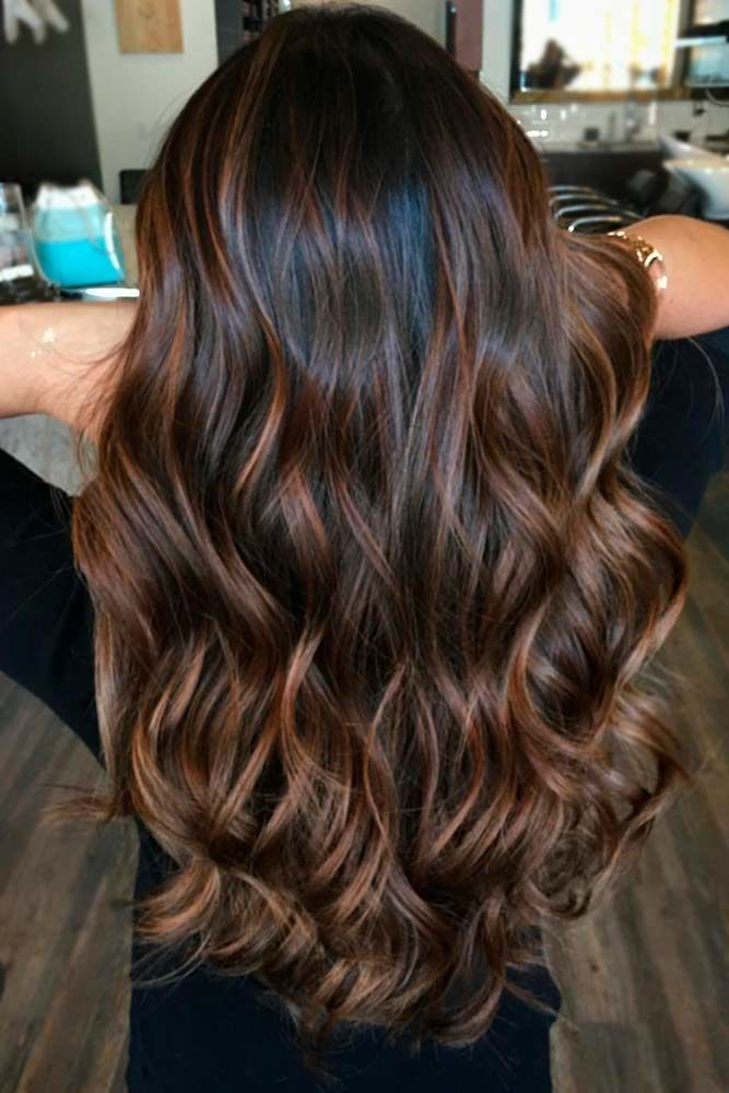 Deep Dark Brown Hair With Highlights Curls #brownhairwithhighlights #highlights