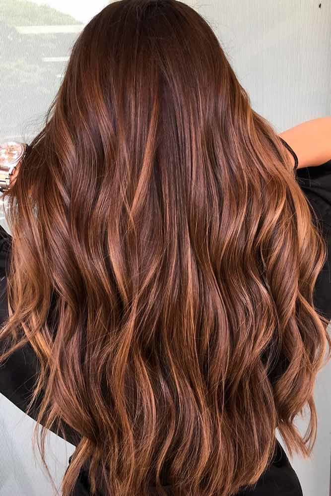 Chestnut Brown Hair With Highlights Long #brownhairwithhighlights #highlights