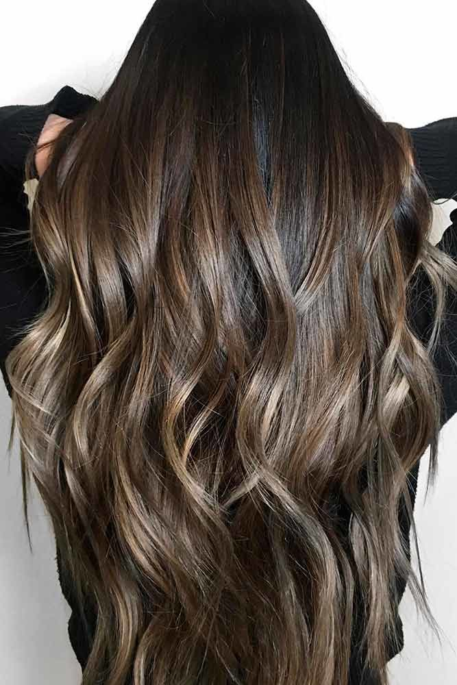 Deep Dark Brown Hair With Highlights Sleek #brownhairwithhighlights #highlights