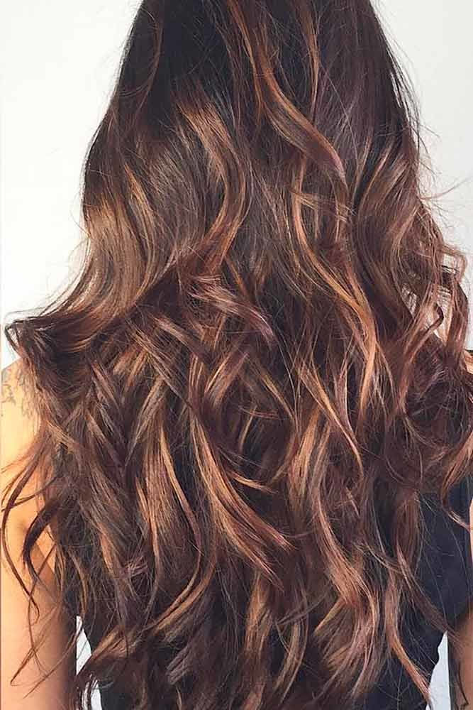 Caramel Highlights For Dark Brown Hair Messy #brownhairwithhighlights #highlights