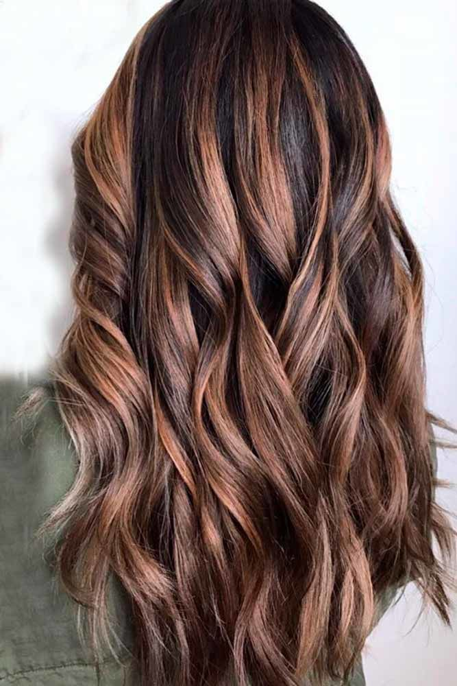 Caramel Highlights For Dark Brown Hair Waves #brownhairwithhighlights #highlights