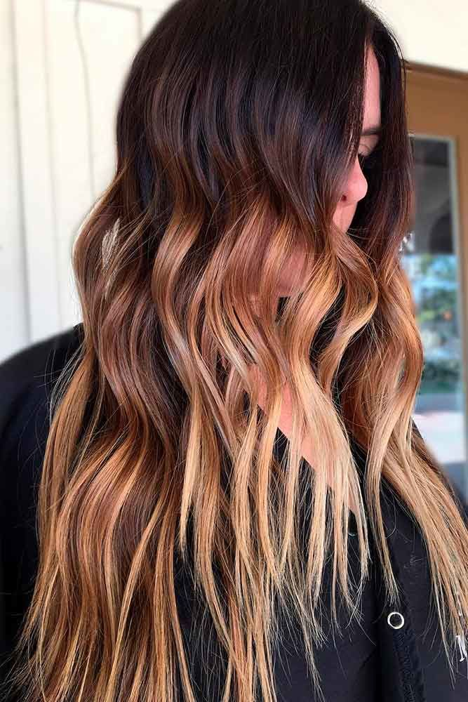 Honey-Shaded Brown Hair With Highlights Waves #brownhairwithhighlights #highlights