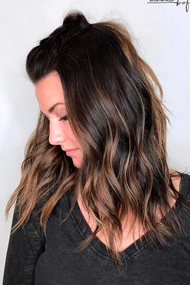 Honey-Shaded Brown Hair With Highlights Half-Up #brownhairwithhighlights #highlights