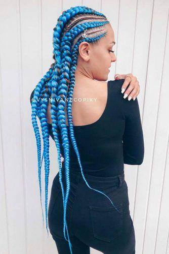 Long Blue Kanekalon Braiding Hair #kanekalonhair #braids