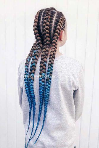 Blue Kanekalon Braiding Hairstyle #kanekalonhair #braids