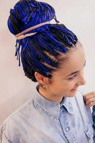 High Bun Braided Kanekalon Hair Blue #kanekalonahir #braids