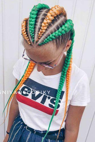 Two Colors Combination Four Braids #kanekalonhair #braids