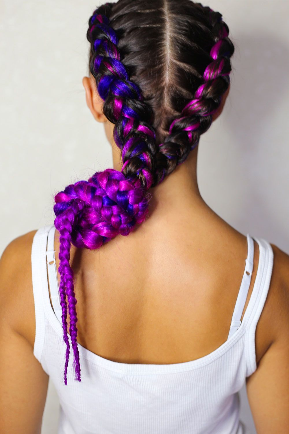 Knotted Two Braids With Kanekalon