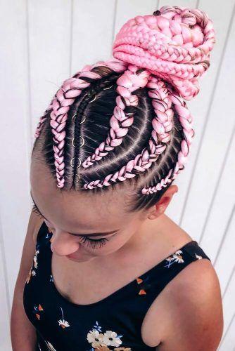 High Bun Braided Kanekalon Hair Rings #kanekalonahir #braids
