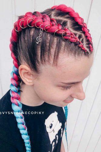 Two Colors Combination Two Braids #kanekalonhair #braids