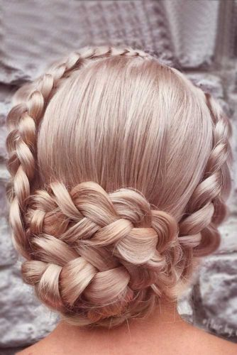 Curly, Double Braided Updo