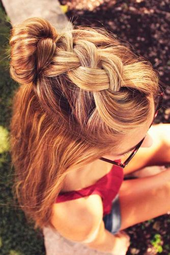 Side Braid with Top Knot