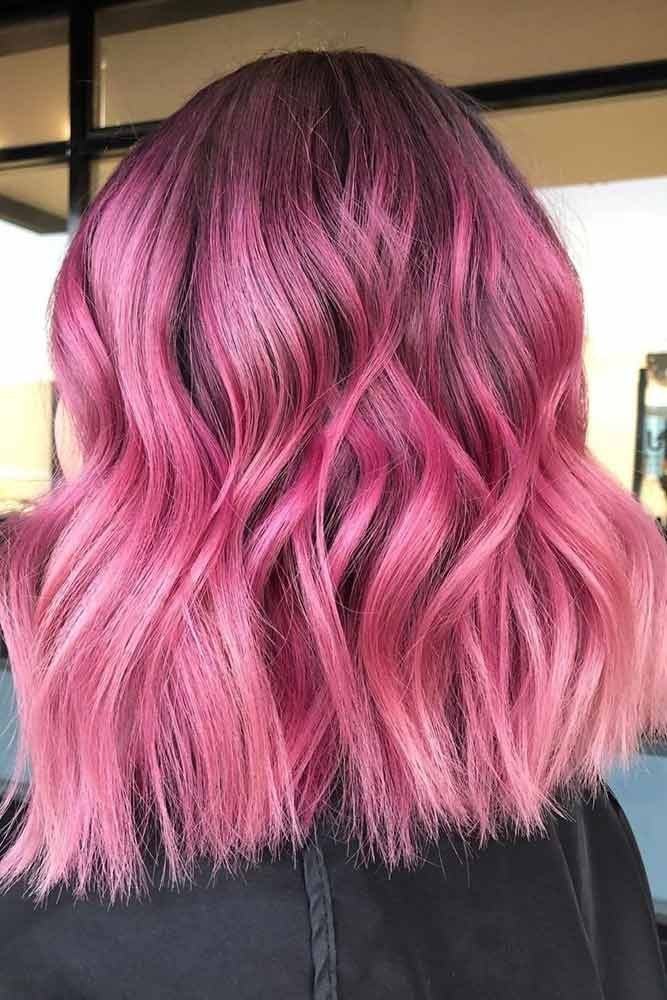 Pink Wavy Lob With Dark Roots #pinkhair #haircolor
