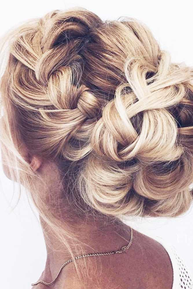 Long Side Braid Styles Full Of Glamour Bun #longhairstyles