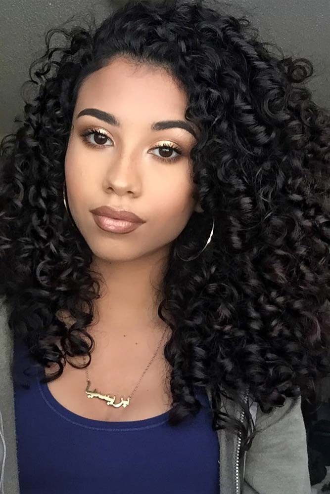 Long Hairstyles With Kinky Crimpy Curls