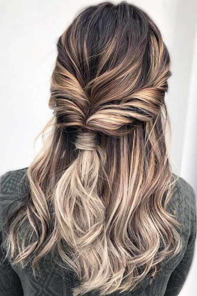 Twisted Long Hairstyles For Layered Hair Half Up #longhairstyles