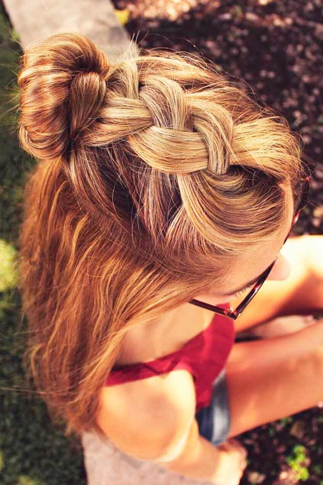 Side Braid With Top Knot #longhairstyles