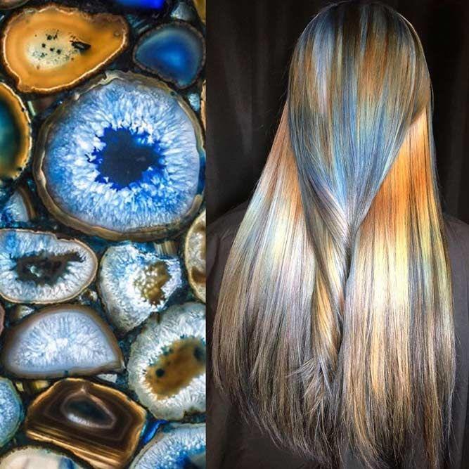 Agate #geodehaircolor #haircolor #crystalhair