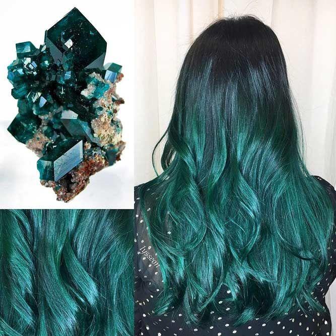 Emerald #geodehaircolor #haircolor #crystalhair