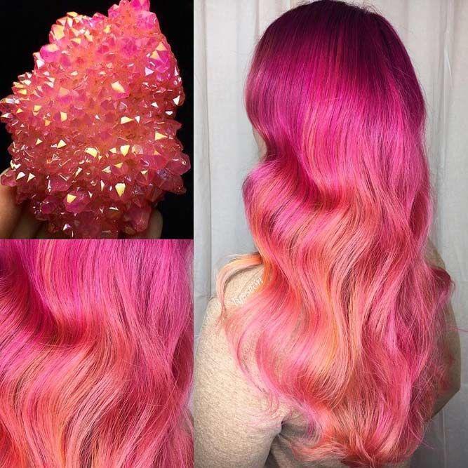 Pink Angel Aura Quartz #geodehaircolor #haircolor #crystalhair
