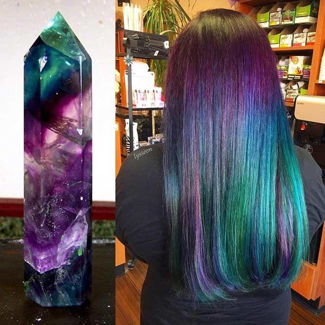 Rainbow Fluorite #geodehaircolor #haircolor #crystalhair