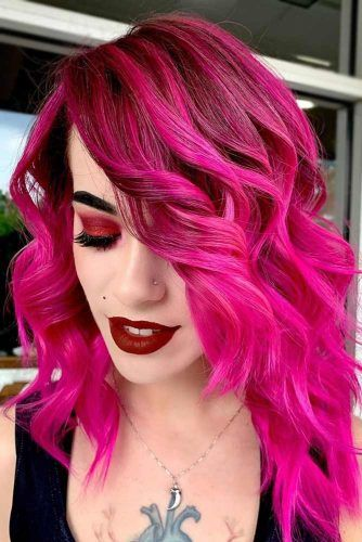 Red Purple Hair With Pink Ombre Black #redpurplehair #purplehair
