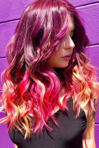 Red Purple Hair With Pink Ombre Orange #redpurplehair #purplehair