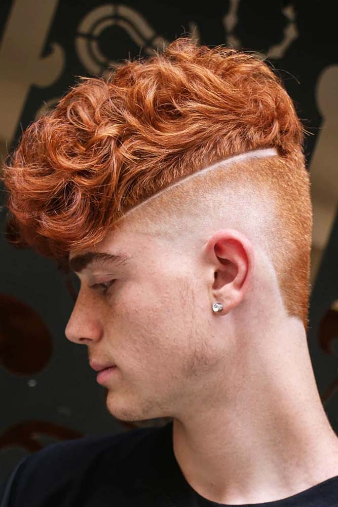 Auburn Wavy Top Skin Fade Surgical Line #menhairstyles #hairstyles