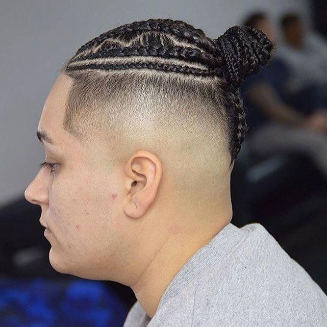 Braids Into Bun Skin Fade #menhairstyles #hairstyles