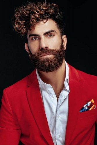 Curly Hairstyle With Long Bang and Full Beard #menshairstyles #curlyhair #fullbeard