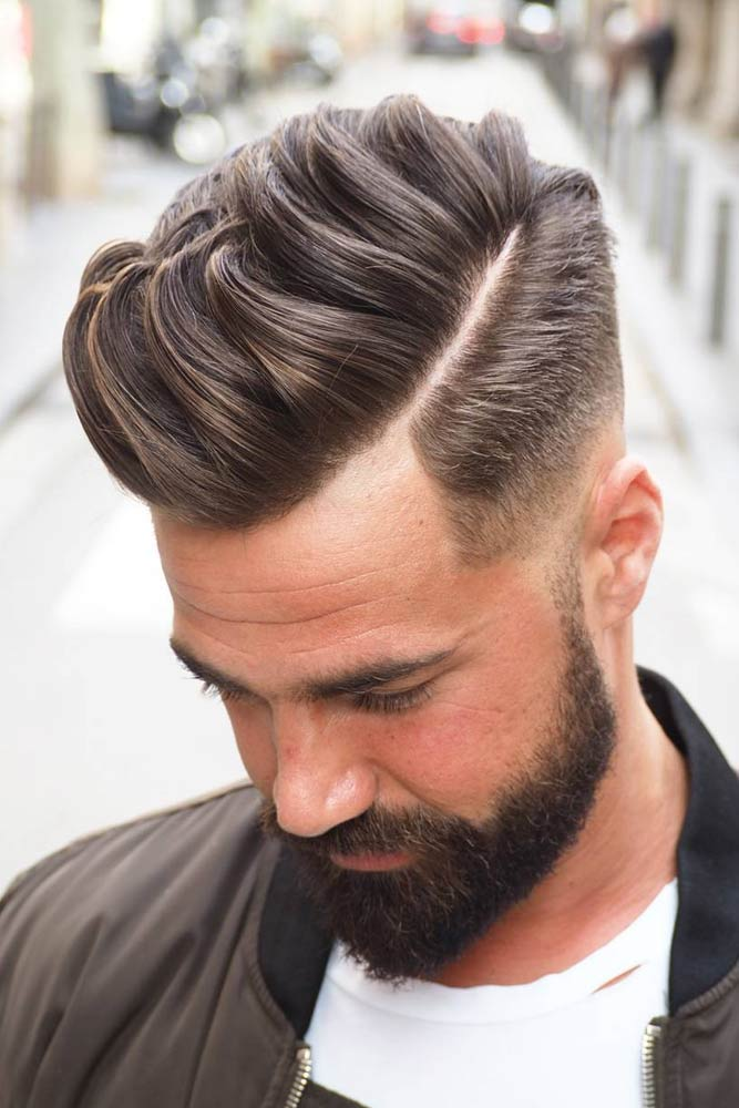 Comb Over Fade Deep Side Part #menhairstyles #hairstyles